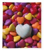 White Heart Candy Fleece Blanket