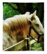 White Horse Closeup Fleece Blanket