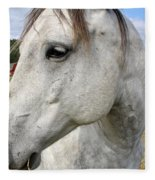 White Horse Closeup Fleece Blanket