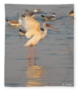 White Ibis With Wings Raised Fleece Blanket