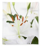 White Lilies And Background Fleece Blanket