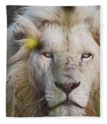 White Lion And Yellow Flowers Fleece Blanket