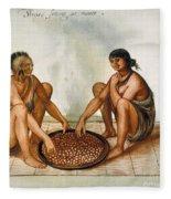 White: Native Americans Eating Fleece Blanket