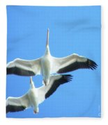 White Pelicans In Flight Fleece Blanket
