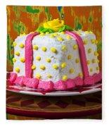 White Present Cake Fleece Blanket