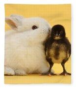 White Rabbit And Bantam Chick On Yellow Fleece Blanket