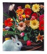 White Rabbit By Basket Of Flowers Fleece Blanket