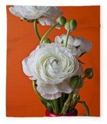 White Ranunculus Close Up In Red Vase Fleece Blanket