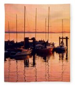 White Rock Sailboats Hdr Fleece Blanket