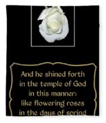 White Rose With Bible Verse From Sirach Fleece Blanket
