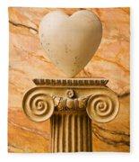 White Stone Heart On Pedestal Fleece Blanket