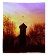 White Swan Church In The Sunset Fleece Blanket