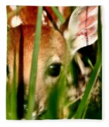 White Tailed Deer Fawn Hiding In Grass Fleece Blanket