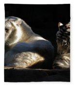 White Tiger And Lion Fleece Blanket