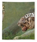 White Tiger Growling At Her Mate Fleece Blanket