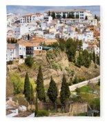 White Town Of Ronda Fleece Blanket