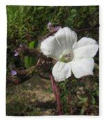 Small White Morning Glory Fleece Blanket