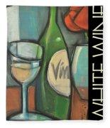 White Wine Poster Fleece Blanket