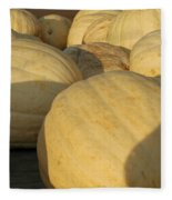 White Yellow Pumpkins Fleece Blanket