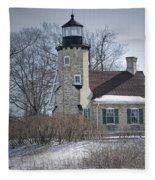 Whitehall Lighthouse In Winter Fleece Blanket