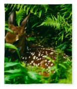 Whitetail Fawn And Ferns Fleece Blanket