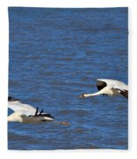 Whooping Cranes Fleece Blanket