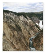 Wide View Of The Lower Falls In Yellowstone Fleece Blanket