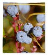 Wild Blue Berries With Water Drops  Fleece Blanket