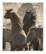 Wild Horse Battle Fleece Blanket