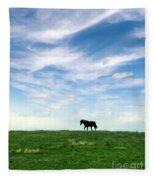 Wild Horse On Grassy Hill Fleece Blanket