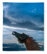 Wild Horse Sculpture Fleece Blanket