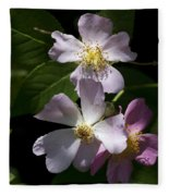 Wild Pink Rambling Rose Fleece Blanket