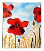 Wild Poppies Fleece Blanket