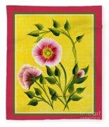 Wild Roses On Yellow With Borders Fleece Blanket