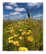 Wildflowers And Barbed Wire Fleece Blanket