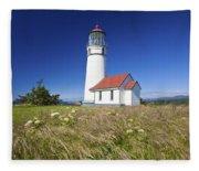 Wildflowers And Cape Blanco Lighthouse Fleece Blanket