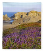 Wildflowers And Rock Formations Along Fleece Blanket