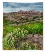 Wildflowers In Badlands Fleece Blanket