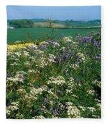 Wildflowers, Near Seaforde, Co Down Fleece Blanket