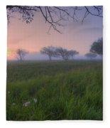 Wildflowers On A Foggy Pasture Fleece Blanket
