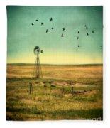 Windmill And Birds Fleece Blanket