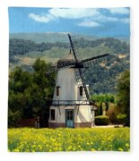 Windmill At Mission Meadows Solvang Fleece Blanket