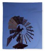 Windmill In Blue  Fleece Blanket
