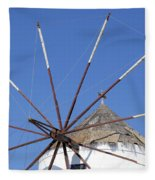 Windmill In Santorini Fleece Blanket