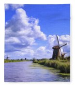 Windmills In Holland Fleece Blanket