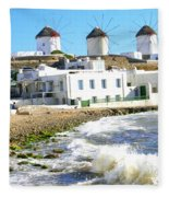 Windmills On Mykonos Fleece Blanket