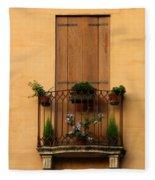 Window And Balcony In Vicenza Fleece Blanket