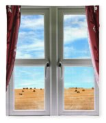 Window And Curtains With View Of Crops  Fleece Blanket