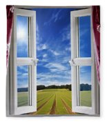 Window View Onto Arable Farmland Fleece Blanket