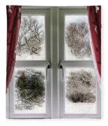 Window View To A Snow Scene Fleece Blanket